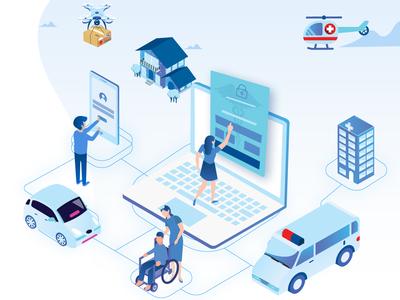 Vector head hipaa-secure patient logistics saas software illustration healthcare
