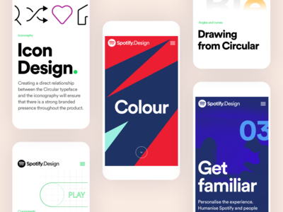 Spotify Design Team Website for Mobile typography spotify website design color type illustration icon web design startup webpage website branding ux ui