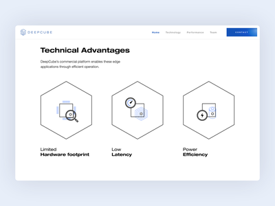 DeepCube – Technical Advantages Page web design agency ux design agency ui ux icons artificial intelligence ai user experience user interface flat website design web website application app