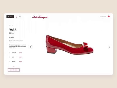 Ferragamo Product Page Design Process shoes fashion website design ecommerce grid typography webpage design web website ui ux