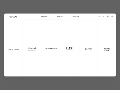Armani.com Navigation shop ecommerce clothing navigation design nav navigation bar navigation fashion grid branding typography website design webpage design web website ui ux
