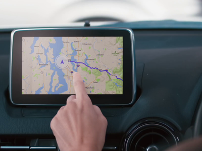 Automobile Navigation console dashboard vehicle directions car automobile automotive auto map app design ui ux
