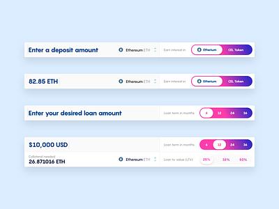 Celsius Loan Calculator Widget toolkit interaction design interaction loans money finance fintech banking bank calculator form selector widget cryptocurrency crypto app web design ui ux