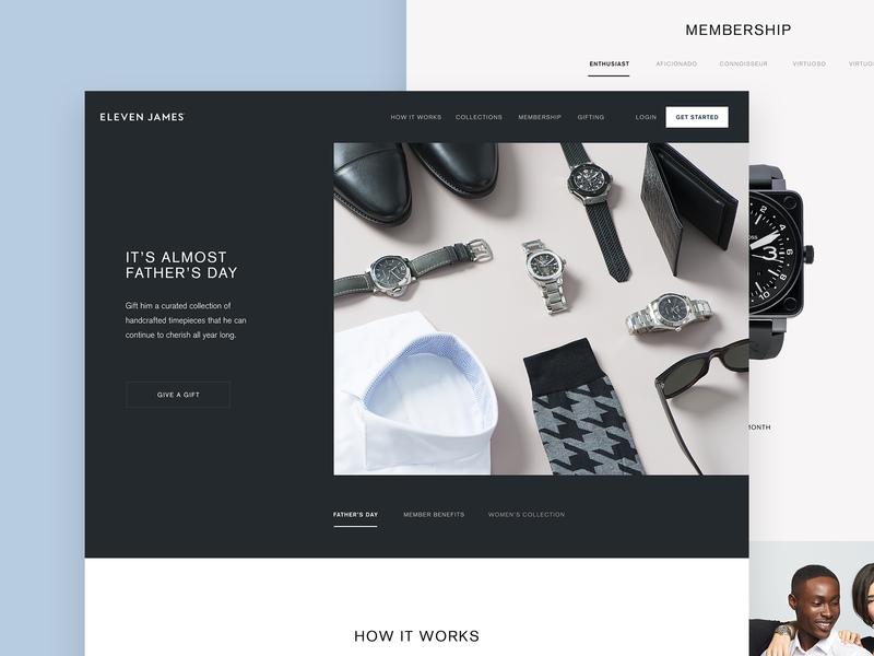 Eleven James Homepage startup luxury desktop landing home page webpage watches watch ux ui website