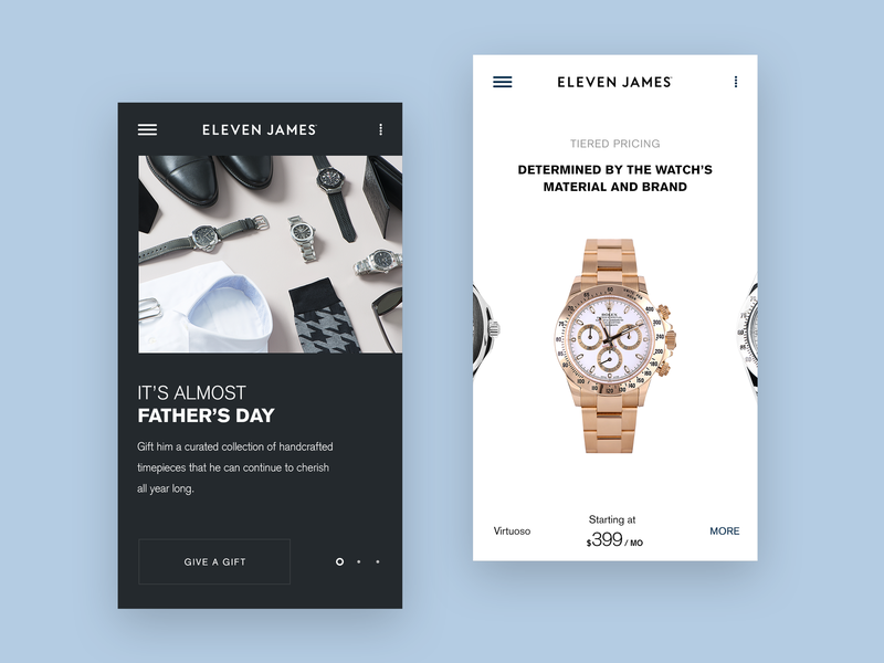 Eleven James Mobile Pages ui ux watch watches webpage page landing mobile luxury startup