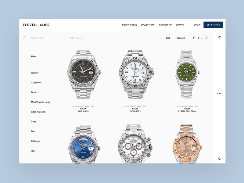 Eleven James Collection Page website ui ux watch watches webpage page collection desktop luxury startup