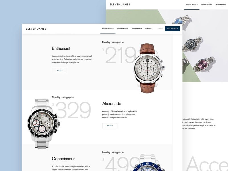 Eleven James Gifting Page website webpage watches watch ux ui startup page luxury desktop collection