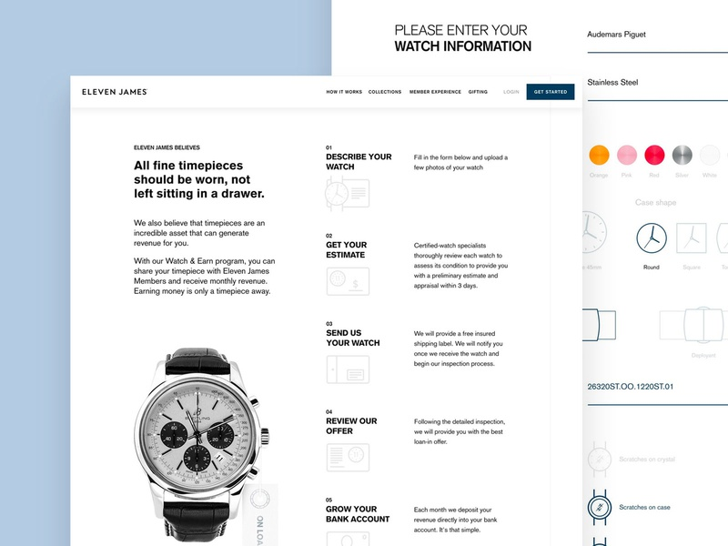 Eleven James Watch & Earn Page website webpage watches watch ux ui startup page luxury desktop collection
