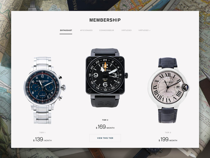 Eleven James Membership Levels website webpage watches watch ux ui startup page luxury desktop collection