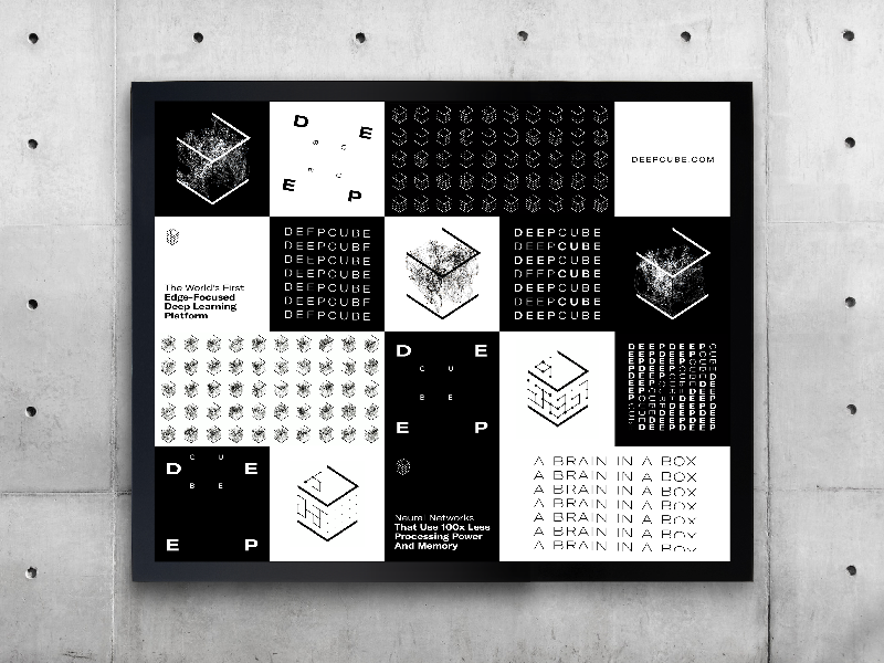 DeepCube Identity Wall – A Brand Designed and Developed with AI deep learning artificial intelligence ai typogaphy graphic design identity design brand identity brand design branding brand logo