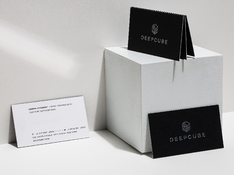 DeepCube Business Cards – Designed and Developed with AI logo brand branding brand design brand identity identity design graphic design typogaphy ai artificial intelligence deep learning photography collateral print