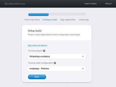 Continuous Integration for iOS (try form) ui ios ci interface continuous integration try form