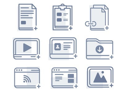 Add Content Icon Set redesign link placeholder ux design contact download icon illustrator iconography icons design ux ui illustration