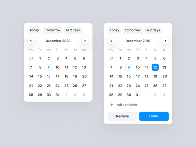 Date picker Dona app task todo to do design system element component schedule date picker datepicker calendar desktop ui app