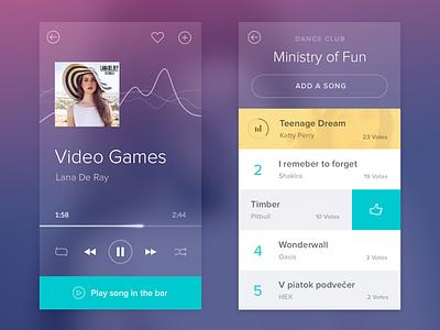 Music app music player app flat blur transparency