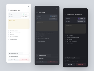 Light / Dark / Black mode dark mode dark theme dark ui component app todo app ui desktop task manager to-do list todo due date task card