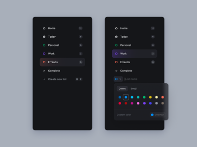 Main navigation task manager task list todoist list color picker component design system navigation dark theme dark app app