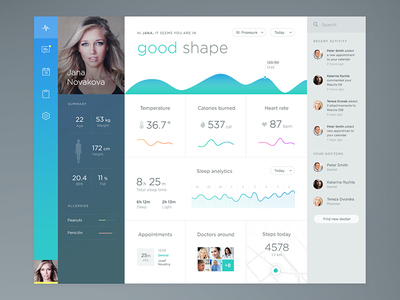 Health app health medical app dashboard flat charts