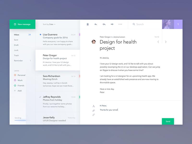 Mail client app ux ui desktop app email mail