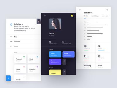 AI powered To-do App chart statistics ios mobile profile app ai tasks to-do