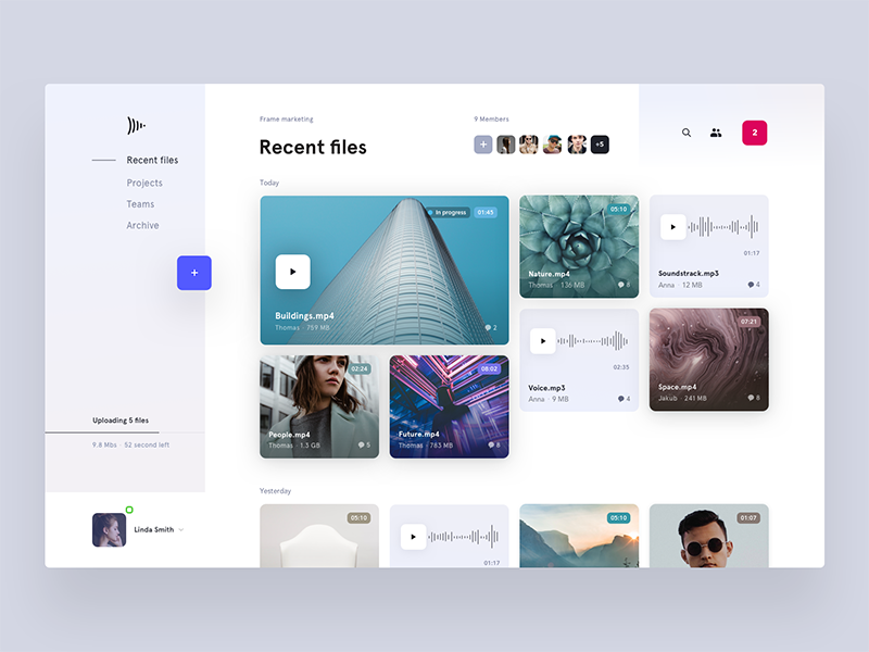 Recent files page concept by Jakub Antalík for Frame.io
