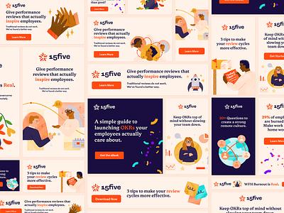 Dazzling Digital Ads for 15Five branding design