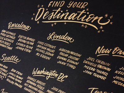 Travel-themed seating chart hand lettering brush lettering wedding seating chart