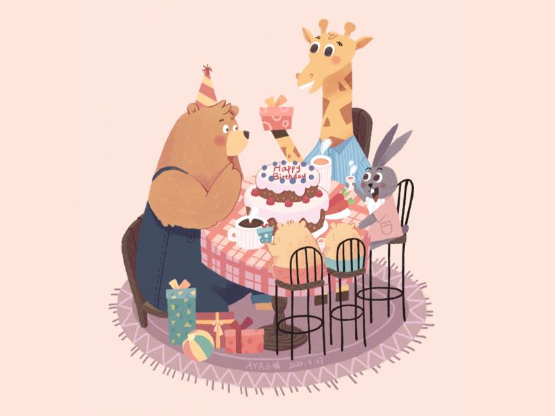 Happy Birthday birthday sweets animal illustration