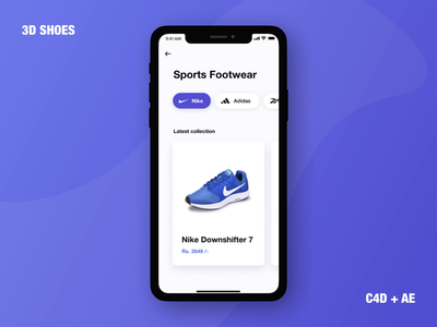 3D Shoes video prototype clean render cinema 4d aftereffects after effects nike shopping ecommerce shoes 3d iphone motion interaction animation mobile app ui ux