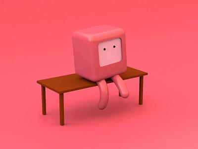 Watching TV illustration 3d art character design tv character render blender cinema 4d 3d animation
