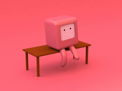 Watching TV illustration 3d art character design tv character render blender cinema 4d 3d animation