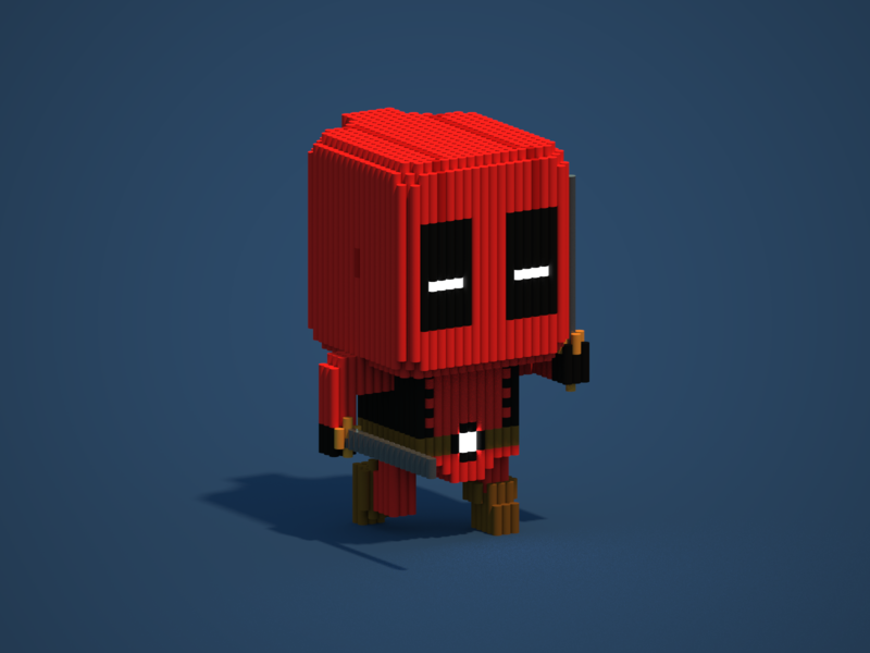 Deadpool | Voxel Art comic game lego pixel illustration character marvel superhero deadpool magica voxel voxels magicavoxel 3d voxelart voxel
