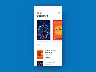 E-Book App skeuomorphism book cover books sprint prototype aftereffects bookshelf reading ebook book app animation ui ux