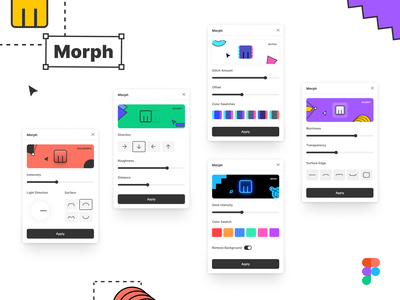 Morph   Figma Plugin effects shape plugins reflection glitch skeuomorphism glassmorphism glass neon skeuomorph plugin figma morph