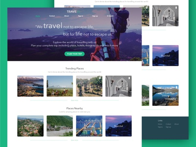 TRAVELL - Homepage travell landing page homepage ux ui trip travelling webdesign website