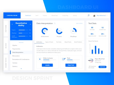 Dashboard UI learning education sprint design intern assignment ux ui dashboard
