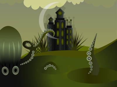 Sea monster architecture vector illustrator swamp castle kraken monster sea