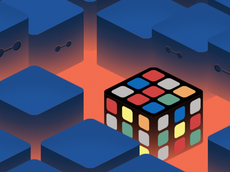 Outsider eyes isometric cube colors concept illustration odd puzzle rubiks cube