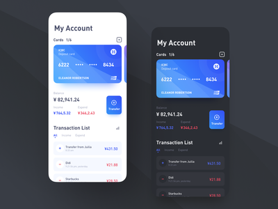 Bank Light & Dark expend income transaction account balance bank design mobile ui