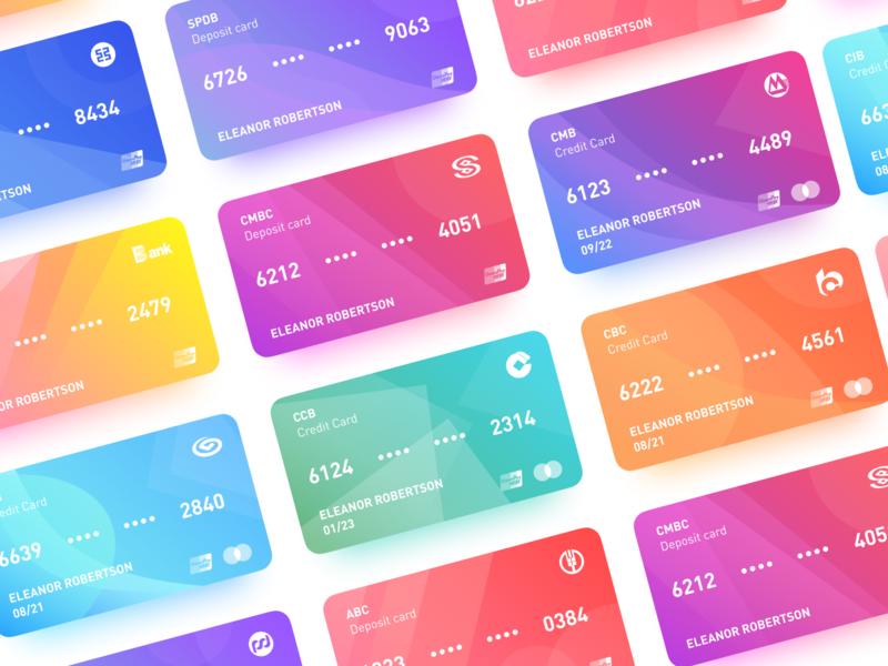 Gradient Bank cards credit card color gradient mobile bank card ui bank