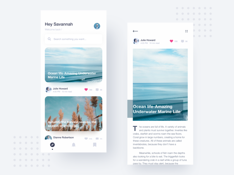 Article blue and white color clean blue search like comment article app mobile ui