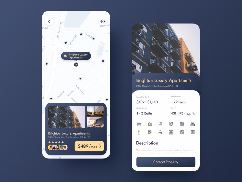 Apartment Rental App rental app blue map house golden apartment rental home icon design app mobile ui