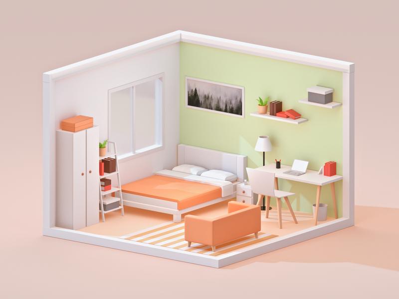 Room house isometric design isometric illustraion lowpoly 3d art 3d