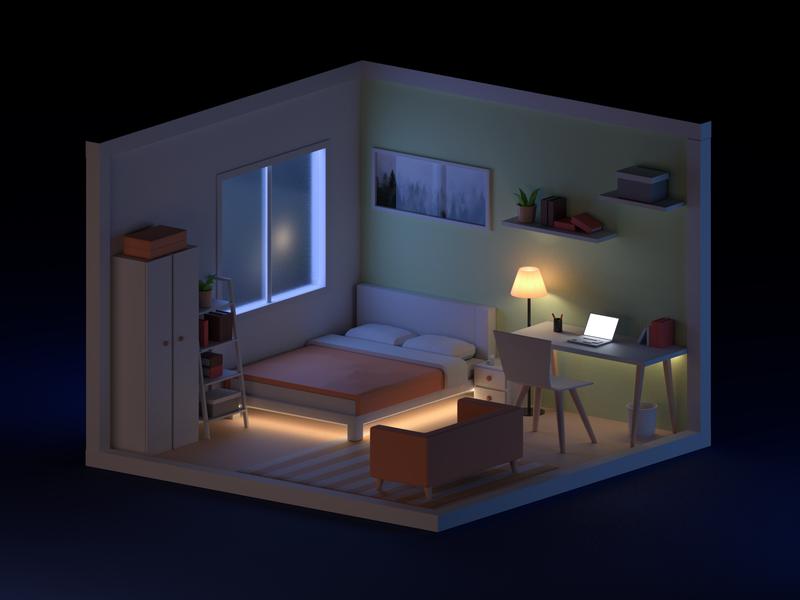 Room - night light night mini house room illustraion lowpoly 3d art 3d