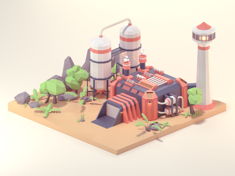 Factory rock plants factory illustration lowpoly 3d art 3d