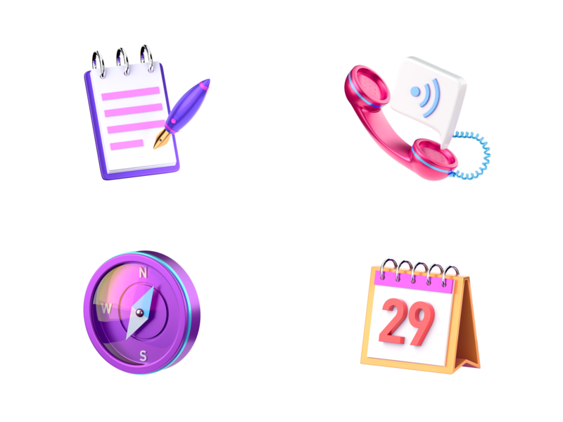 Icons navigator phones notepad note calendar 3d art 3d icon set icon