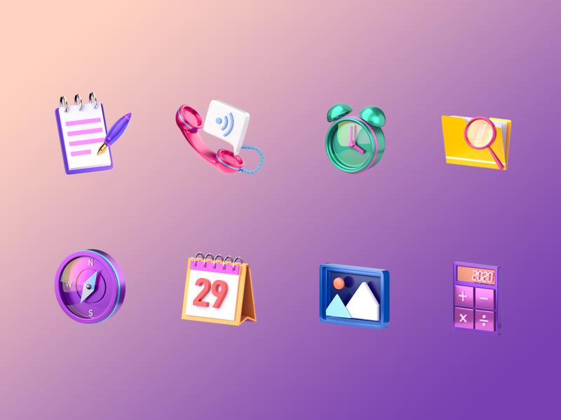 Icons navigation calendar notepad photo calculator clock icon ui 3d art 3d