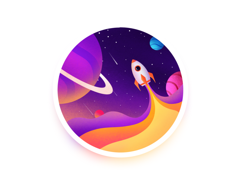 Rocket procreate spaced rocket illustration
