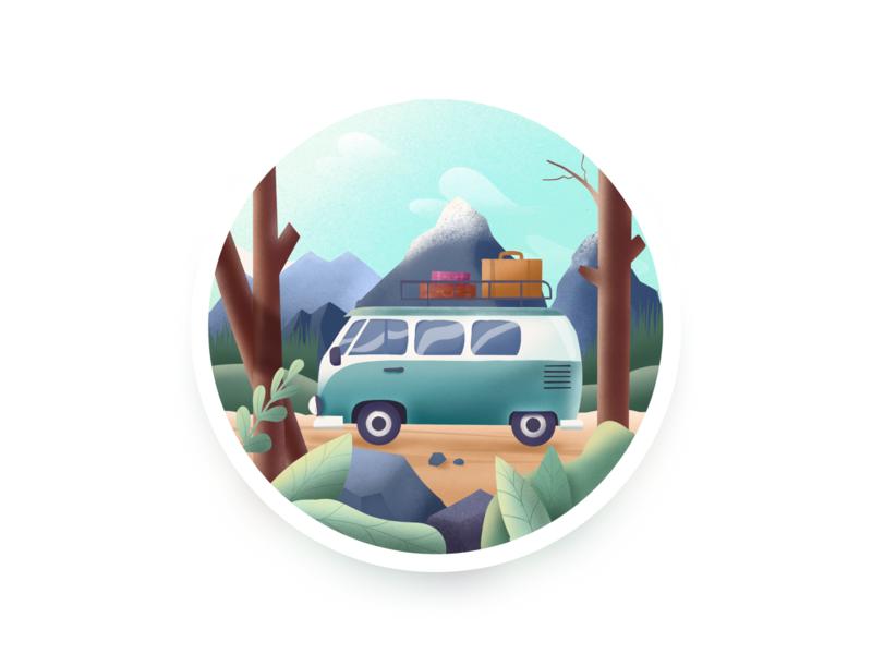 Car procreate outdoor wild car illustration