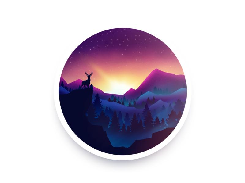 Sunrise night deer illustration sunrise